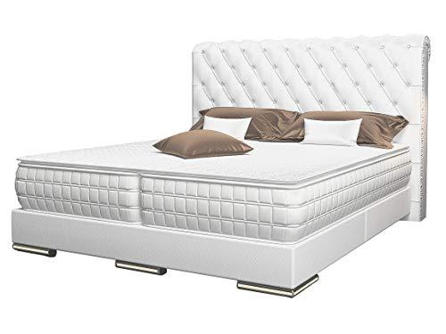 HG Royal Estates GmbH Baron Designer Boxspringbett Boxspring Bett LED Chesterfield Weiss - 180 cm x 200 cm