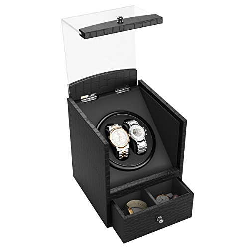 CRITIRON Coffret Montre Watch Winder Boîte à Montre Automotique Silencieux en Similicuir avec Grande Vitrine...