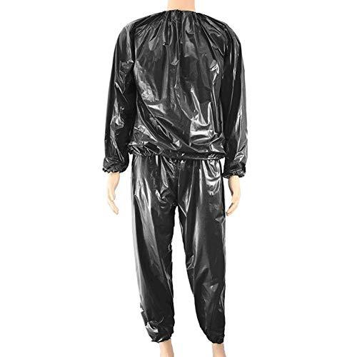 obiqngwi Mode Unisex Sweat Sauna Übung Fitnessstudio Fitness Gewichtsverlust Anzug Top Hosen Kleidung Set - Schwarz XXXXL Pvc-herren-hosen
