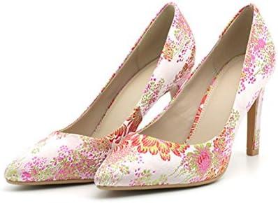 NVXIE Zapatos de mujer señaló tacones altos zapatos de mujer de verano bordado de tela boca superficial fina con...