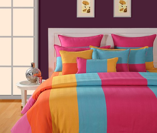 Swayam Magical Linea Stripes Cotton Single Bedsheet with 1 Pillow Cover - Multi Stripes