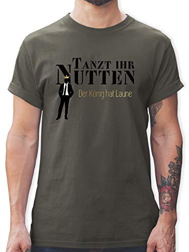 Typisch Männer - Tanzt Ihr Nutten - Der König hat Laune - L - Dunkelgrau - L190 - Tshirt Herren und Männer T-Shirts