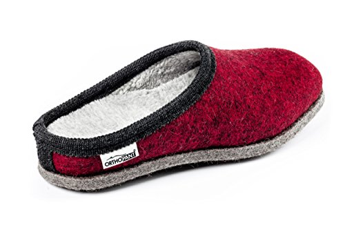 Orthopant pantoufles en feutre BAITA, unisexe, talon ouvert, respirant, antidérapant -100 % pure feutre de laine pour une chaleur agréable - Qualité fait main du Tyrol du Sud Rouge avec noir bordure