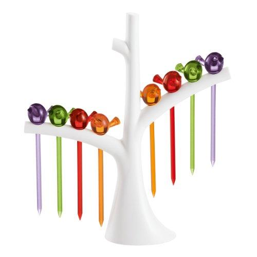 Koziol PI:P - Set de 8 pinchos, diseño de pajaritos, para aperitivos, tapas, colores variados, soporte en forma de árbol