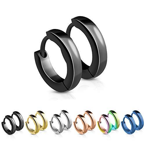 Treuheld® | Schmale Creolen/Ohrringe aus medizinischem Edelstahl | 2,5mm x 12mm | Schwarz | Klappcreolen für Damen und Herren | Set/Paar