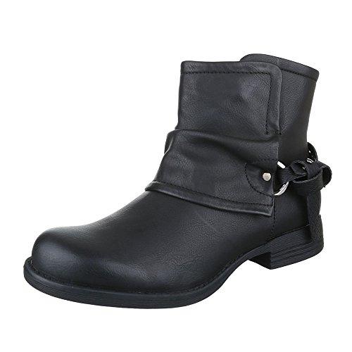 Boots / Bikerboots Damen Schuhe Biker Boots Blockabsatz Moderne Reißverschluss Ital-Design Stiefeletten Schwarz
