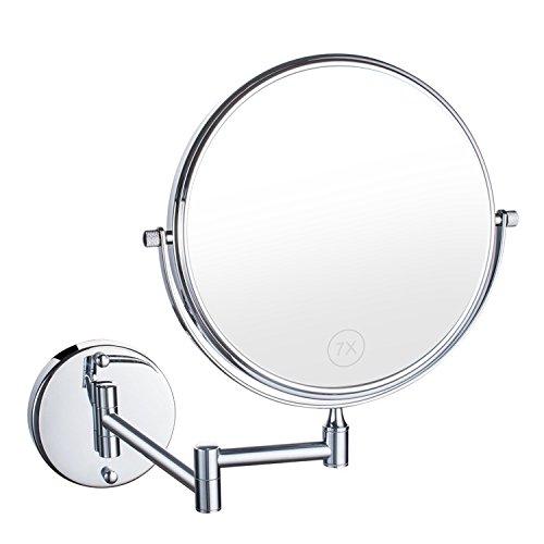 Uniquebella Schminkspiegel, 7x Vergrößerung Wandhalterung Spiegel 8 Zoll zweiseitig Vanity...