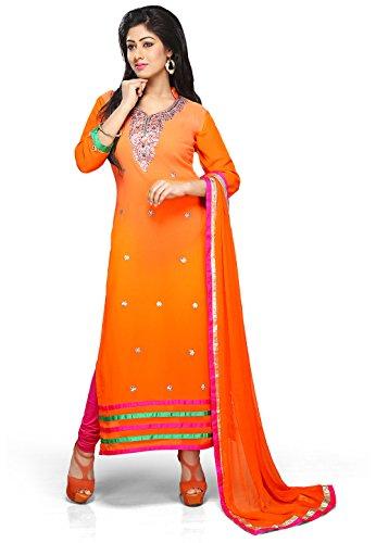 Utsav Fashion Embroidered Straight Cut Suit in Orange Colour