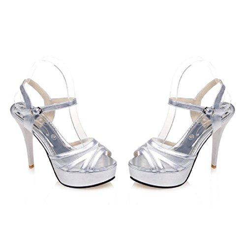Femmes Talons hauts Été Mode Chaussures décontractées Des sandales Chaussons Silver