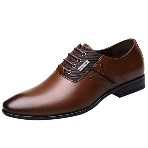 KonJin Business Shoes for Men Pointed Toe Lace Up Leather Oxford Wedding Uniform Vintage Office UK Size 5.5-10