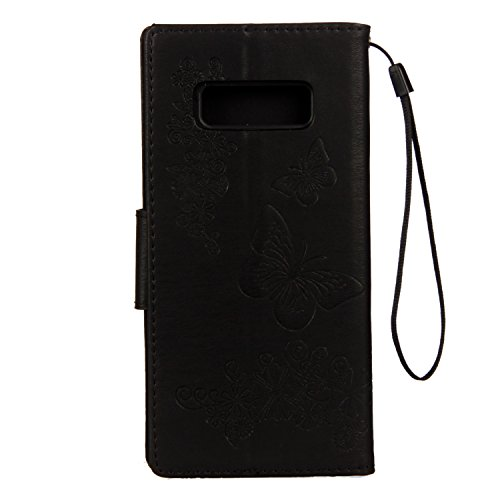 Cover Samsung Galaxy Note 8, Alfort Custodia Protettiva in Pelle Verniciata Goffrata Farfalle e Fiori Alta qualità Cuoio Flip Stand Case per la Custodia Ci sono Funzioni di Supporto e Portafoglio Chiu Nero
