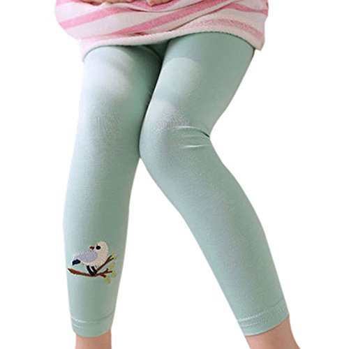 Cotton Wide Leg Capris (Kinder Baumwolle Mädchen Leggings, Hankyky Streetwear Kind lang Tight Hose Basic Stretchy Full Length Embroidered Mit Bird-and-tree Pattern, Alter 2-7)