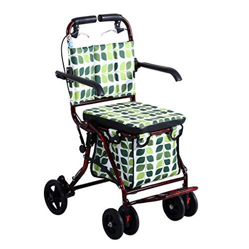 Einkaufswagen, können Einkaufswagen vierrädrige Senioren kaufen Essen Warenkorb Walking Trolley Reisen Klapp Einkaufswagen (Color : Green, Size : 70 * 55 * 93cm)