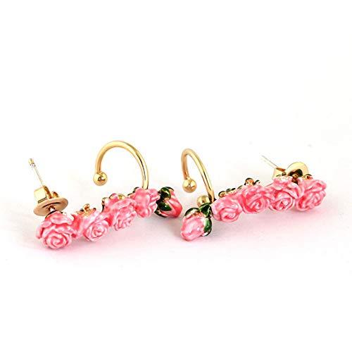 CAHM Rose Bud Earrings Female, rosa Ohrringe mit k Gold 925 Silberne Nadel europäischen und amerikanischen Stil Ohrringe Dinner-Party Daily Ohrringe