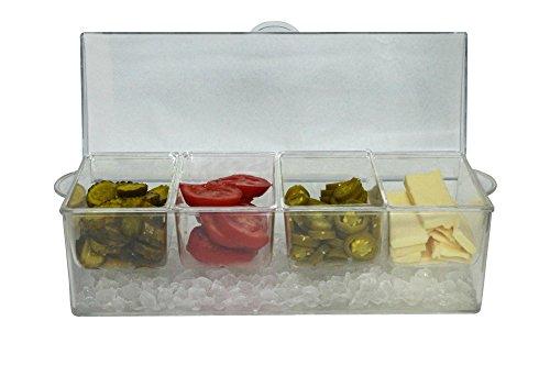 Oaklyn ice organizer spice server con contenitori e coperchio che serve e vassoio di plastica vassoio da 20 oz grande trasparente
