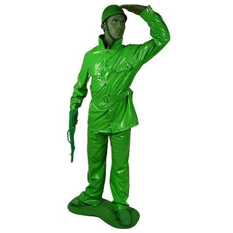 Deux Costume Visage Veste - Déguisement petit soldat vert adulte