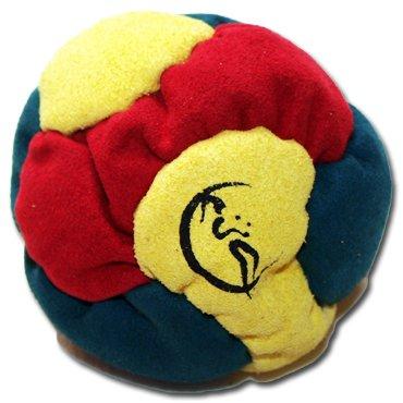 Profi Footbag 6 Paneelen (Rot/Gelb/schwarz) Pro Freestyle Footbag! Hacky Sack für Anfänger und Profis, ideal für Stände, Fänge, Verzögerungen u. Tritte!