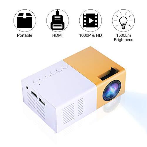 Bewinner Mini LED Beamer, Mini-Heimkino-Projektor Tragbarer LED-Projektor HD Unterstützung 1080P HDMI VGA AV USB-Multimedia-Player für Erholung im Freien, Unterhaltungsorte(EU Plug)
