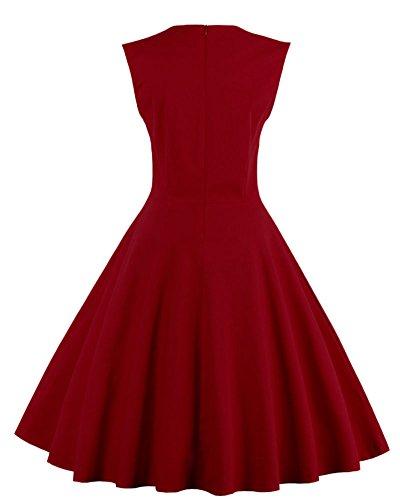 Robe De Soirée/Bal Courte Rétro Vintage Impression Année 1950 Style Audrey Hepburn Rockabilly Swing Sans Manche Grande Taille Vin Rouge