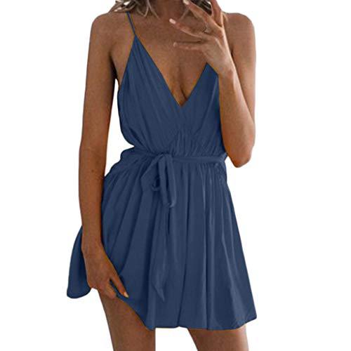 Lovelyou donna estivi eleganti vestito da partito del vestito dal colore selvaggio di modo di v-collo casuale di modo