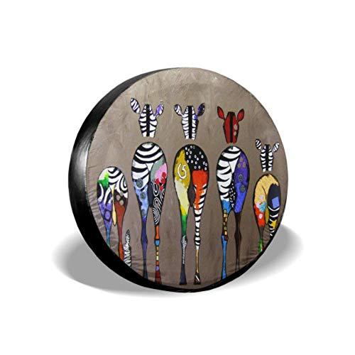 Yushg La Famiglia è Disponibile in Tutti i Colori Zebra Pittura Divertente Copertura per Pneumatici Protezione per Ruota Auto Copertura per Pneumatici Impermeabile UV Sole 14'- 17' Misura per JEE