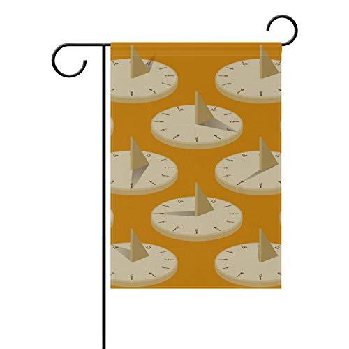 NOAON Bandera de jardín 12x18 Pulgadas Reloj de Sol Patio de Dos Lados Poliéster Exterior