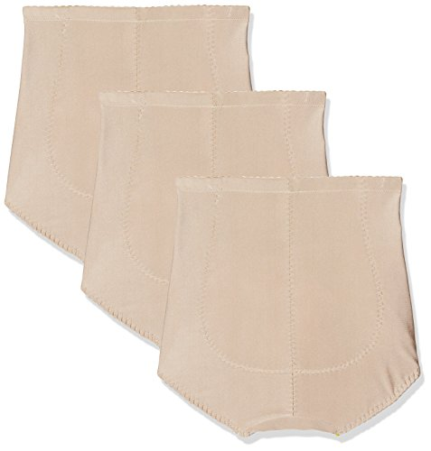 FM London Damen Miederslip Tummy Tuck Bum Lift Girdle, 3er Pack Beige (Nude)