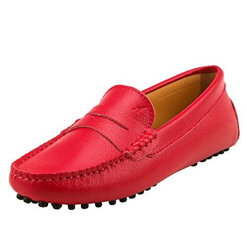 Shenduo Zapatos de Cuero - Mocasines cómodos con Cordones de Moda para Mujer D7052 Rojo 38
