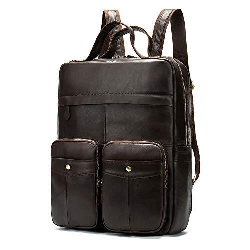 Herren Rucksack aus echtem Leder, handgefertigt, 43,2 cm (17 Zoll) Laptop, mehrere Taschen, Reisetasche Gr. L, Schwarz - Handgefertigtes Leder-rucksäcke