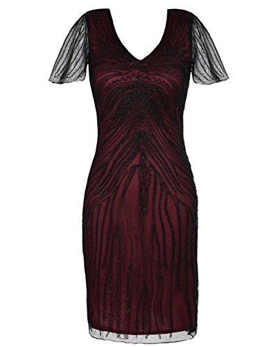Kayamiya Damen Gatsby Kleid Retro 1920er Jahre inspiriert Perlen Art Deco Flapper Kleid M (Kostüme 40's Roaring)