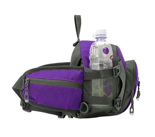 Flache Multifunktions Gürteltasche Bauchtasche Hüfttasche Nylon Wasserdicht Rucksack Handtasche Umhängetasche mit Flaschenhalter für Gym Camping Wandern Radfahren Reisen Bergsteigen Violett