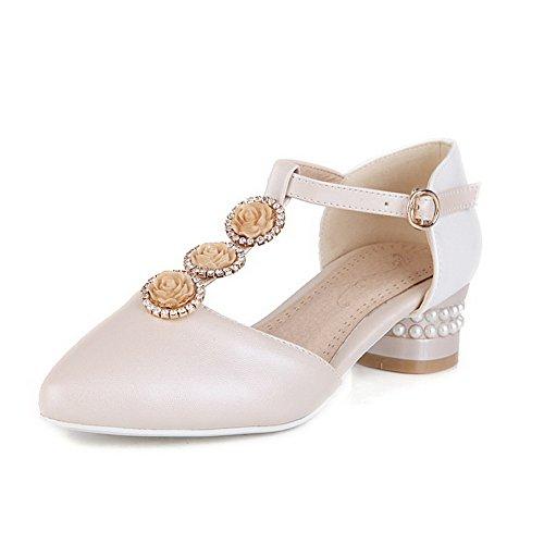 VogueZone009 Damen Schnalle Spitz Zehe Niedriger Absatz Gemischte Farbe Pumps Schuhe Aprikosen Farbe