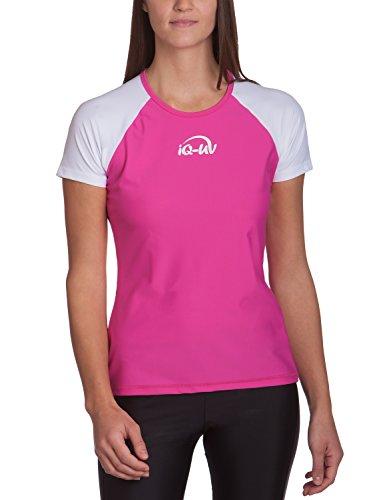 iQ-UV Damen 300 Regular Geschnitten, Uv-Schutz T-Shirt,Weiß-Rosa (Pink),M (40) - Weiß-rosa T-shirt