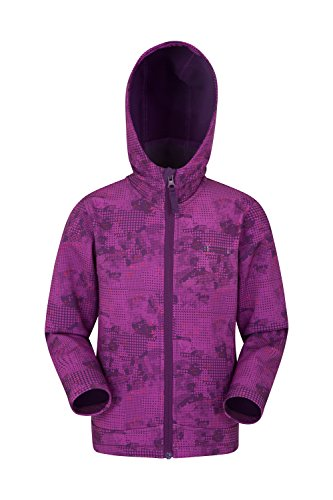 Mountain Warehouse Chaqueta impermeable Exodus con estampado para niños - Chaqueta de verano con 2 bolsillos, chaqueta con capucha con forro de felpa, chubasquero Uva 7-8 Años