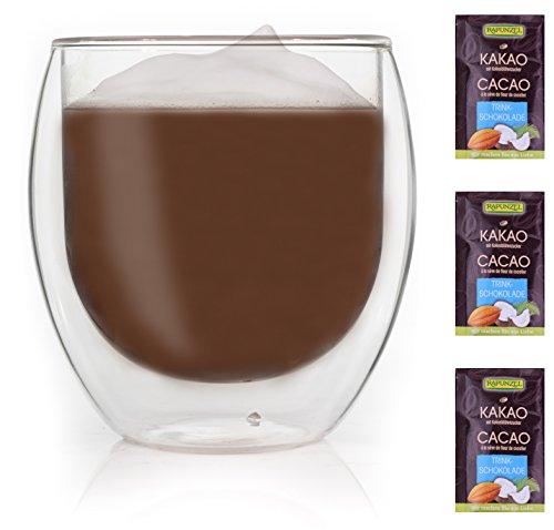 bo XL doppelwandiges Thermoglas + 3x hochwertiger Rapunzel BIO - Trinkschokolade mit hohem 30% Kakaoanteil, Kokosblütenzucker, Meersalz und mit natürlichem Bourbon Vanille (Rapunzel-zeichen)