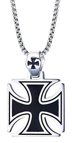 Chomay Edelstahl Herrenkette Eisernes Kreuz Anhänger Ritterkreuz mit 60CM Kette Schwarz