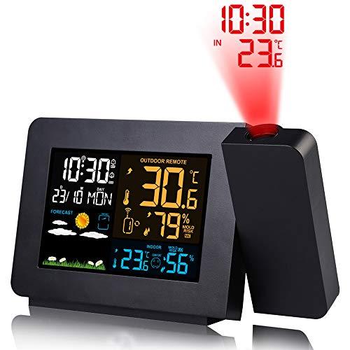Reloj despertador de proyección,Proyector digital Reloj en techo con pantalla de temperatura, Pronóstico...