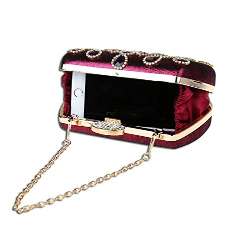 KAXIDY Luxus Abendtasche Handtasche Unterarmtasche Funkelndem Strassbesatz Damentasche Tasche Handtasche (Gold) Lila