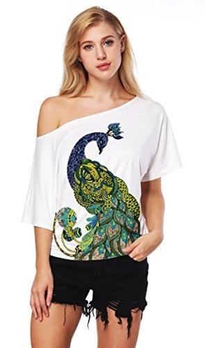 Nawoshow Frauen-Damen Anker Weg von der Schulter Maxi-Slouchy Sweatshirt Pullover Tops Blusen (Peacock)