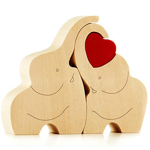 IK Style Symbol of Love Longevity And Unity - Loving Wooden Love Elephant Couple Figurine With Red Hearth - Great Ornament With Message Of Love
