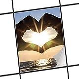 creatisto Mosaikfliesen Dekorsticker | Fliesen Aufkleber Folie Sticker Selbstklebend Küche renovieren Bad Wandtattoo | 20x25 cm Design Motiv Sunny Heart - 1 Stück
