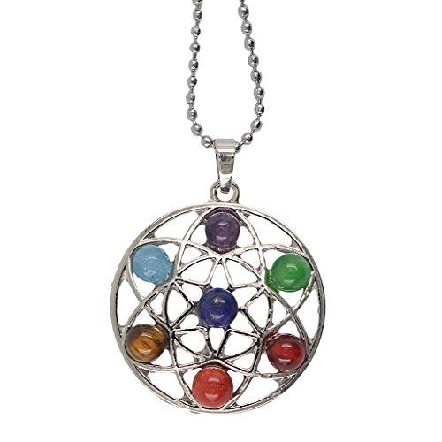 7 De Cuarzo De La Piedra Preciosa De La Rueda De La Vida Amuleto Equilibrio Collar De Reiki