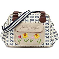Pink Lining Blooming Gorgeous Zipper Bag, Navy Bows