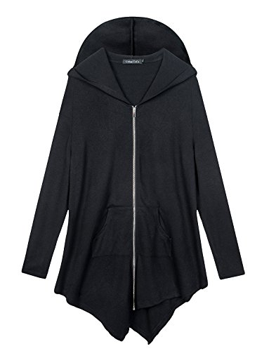 Urbancoco Damen Lose Zip Hooded Sweatshirt Jacke (4XL, Schwarz)