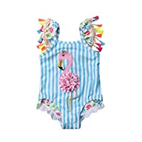 Newborn Kids Baby Girl Pink Floral Tassel Swimsuit Top Vest Shorts Hat Outfits Set (2-3 T, Z Blue)