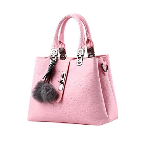 Longra Moda Donna Pelle artificiale Foglie di capelli Decorazione palla Vite fibbia borsa a tracolla Messenger Bag Borsa Tote Bag Rosa