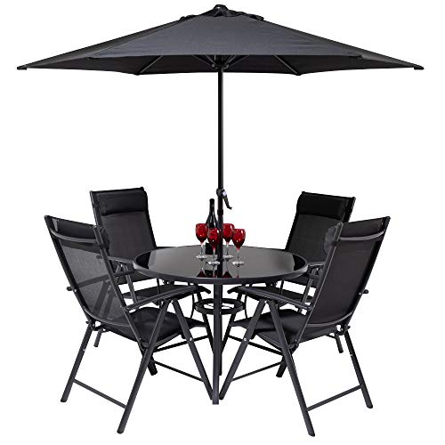 Hectare FU10191 Kennet Reclining 4 Seater Polytex Patio Dining Set In Black