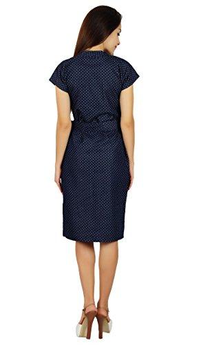 Bimba robe chambray bleu avec et manches chapeau casual ceinture robes chic Bleu