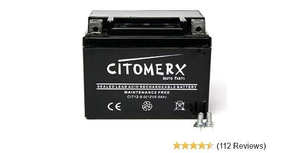 Batterie wartungsfrei 12V 5AH YB4L-B YT4L-B f/ür Malaguti CR1 50 Crosser 1996-2001 YTX4L-BS