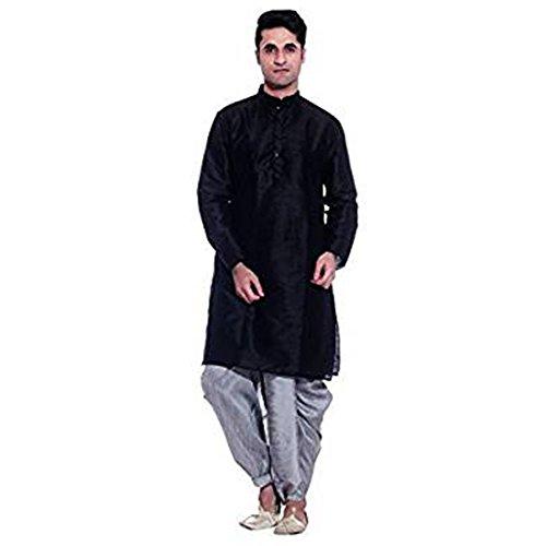 Royal Kurta Men's Silk Blend Dhoti & Kurta 38 Black - Dhoti Kurta